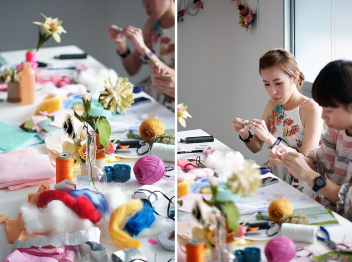 Bloesem Class recap | Felt flower making with Rubyellen of Cakies Blog. Next Bloesem Class: Shibori Dyeing with Arounna of Bookhou