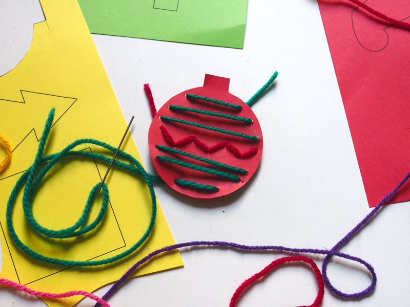 Bloesem Giving | Christmas DIY - Simple stitched paper ornaments